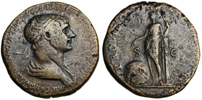 "Ancient Coins - Trajan AE Sestertius ""Providentia"" VF RIC 663 Longest Legends on a Roman Coin"