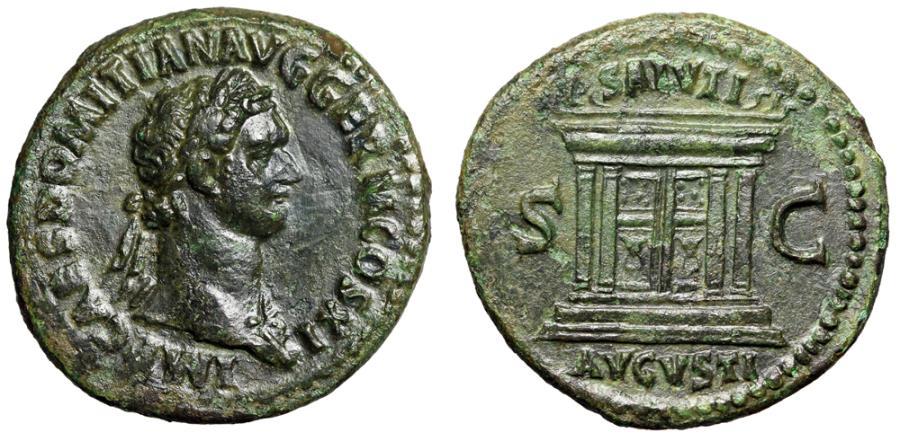 """Ancient Coins - Domitian AE As """"SALVTI AVGVSTI Altar with Steps & Horns"""" Rome 85 AD gVF"""