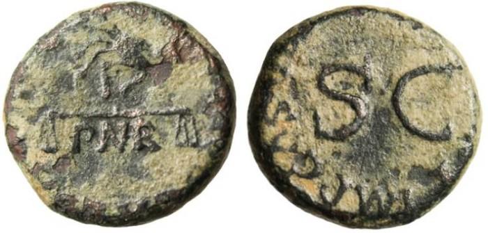 "Ancient Coins - Claudius I AE Quadrans ""Hand Holding Scale PNR"" RIC 85"