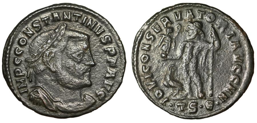 "Ancient Coins - Constantine I The Great 24mm Follis ""Jupiter, Eagle"" Thessalonica RIC 61b gF"