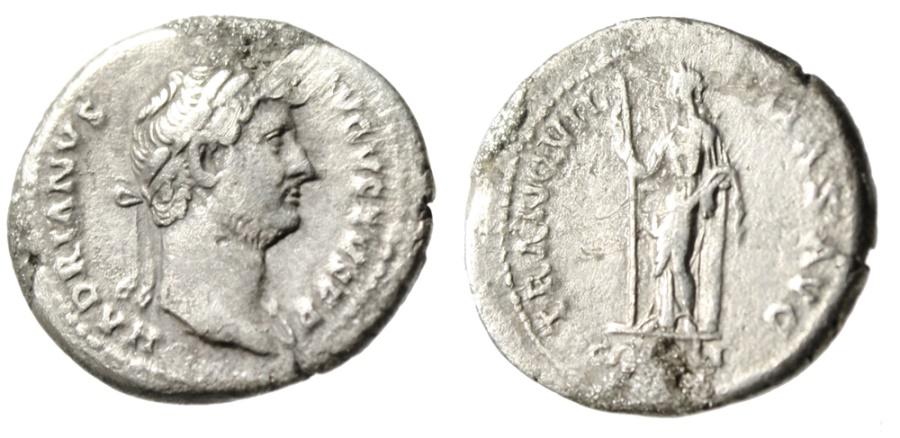 """Ancient Coins - Hadrian AR Denarius """"Tranquilitas Standing, Column"""" RIC 367e Near VF"""