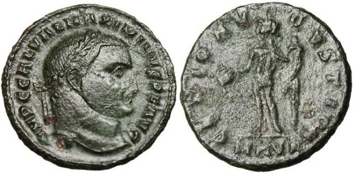"Ancient Coins - Maximinus II, AE Follis ""GENIO AVGVSTI CMH Genius"" Cyzicus RIC 77a"
