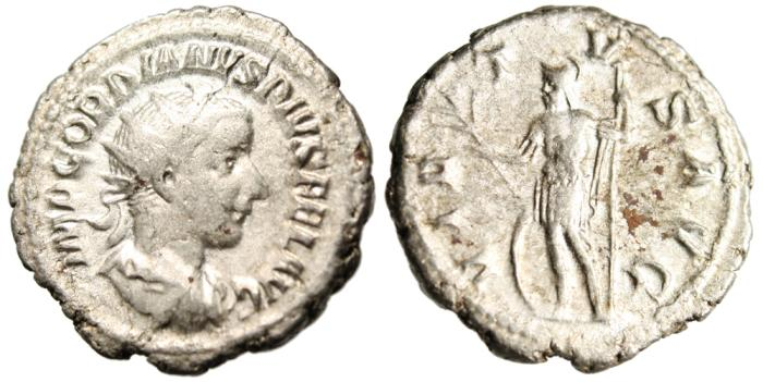 "Ancient Coins - Gordian III Silver AR Antoninianus ""Virtus"" RIC 71 VF"