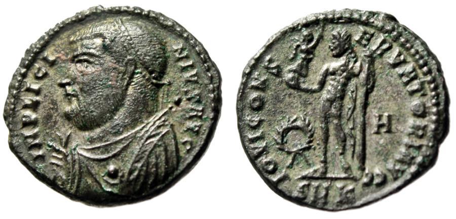 """Ancient Coins - Licinius I AE3 """"IOVI CONSERVATORI AVGG Jupiter, Wreath"""" Cyzicus RIC 9 gVF"""