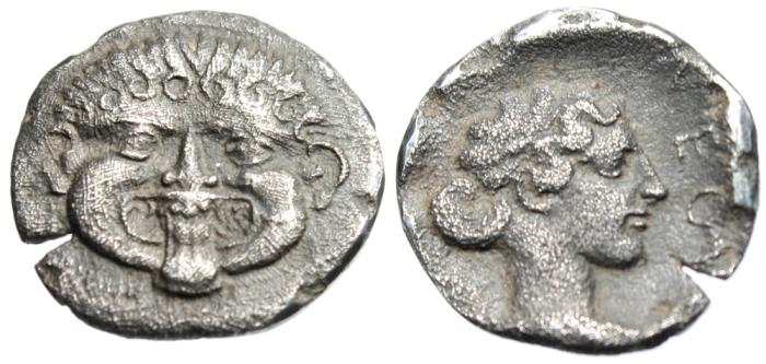 "Ancient Coins - Macdeonia, Neapolis Silver AR Hemidrachm ""Facing Gorgon & Nymph"" EF Lovely Tone"
