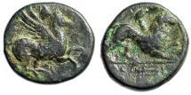 "Ancient Coins - Akarnania, Leukas (Leucas) AE16 ""Bellephron on Pegasos & Chimaera, Trident"" Rare"