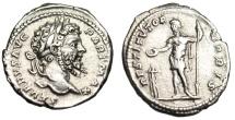 """Ancient Coins - Septimius Severus Silver Denarius """"RESTITVTOR VRBIS Military Garb"""" Rome Near EF"""