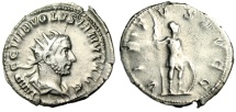 "Ancient Coins - Volusian Silver Antoninianus ""Virtus With Spear & Shield"" Rome RIC 206 VF"