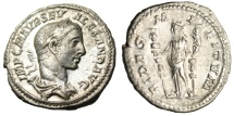 "Ancient Coins - Severus Alexander Silver Denarius ""Fides Holding Two Standards"" Rome RIC 139"