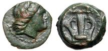 "Ancient Coins - Akarnania, Anaktorion (?) AE16 ""Apollo Right & Kithara (Lyre)"" Rare gVF"