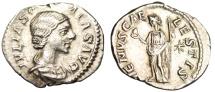 """Ancient Coins - Julia Soaemias Silver Denarius """"VENVS CAELESTIS Venus Standing"""" Rome RIC 241"""