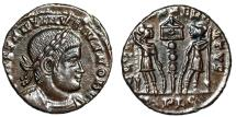 "Ancient Coins - Constantine II AE15 ""GLORIA EXERCITVS Soldiers, One Standard"" RIC 286 Rare EF"