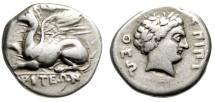 """Ancient Coins - Thrace, Abdera AR Tetradrachm """"Griffin Lying & Apollo"""" Pytheos VF Rare"""