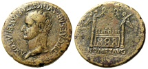 "Ancient Coins - Tiberius Sestertius ""ROM ET AVG Altar of Lugdunum, Columns"" RIC 240 Tooled VF Certificate of Authenticity by David Sear"