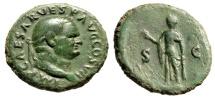 "Ancient Coins - Vespasian AE As ""Spes With Flower, Hope"" Rome 76AD RIC 894 nVF Green Patina"