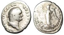 "Ancient Coins - Vespasian Silver Denarius ""Victory on Prow"" Rome 75 AD RIC 93"
