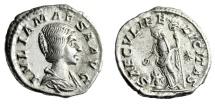 "Ancient Coins - Julia Maesa Silver Denarius ""SAECVLI FELICITAS Felicitas at Altar"" RIC 271 gVF"