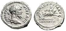 """Ancient Coins - Septimius AR Denarius """"INDVLGENTIA AVGG IN CARTH Dea Caelestis, Lion"""" aEF"""