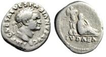 """Ancient Coins - Vespasian AR Denarius Judea Capta """"Jewess Mourning, Trophy"""" 69-70 AD RIC 2 gF"""