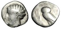 "Ancient Coins - Lucania, Velia AR Drachm ""Nymph, Delta & Owl Standing Left"" 465-440 BC Scarce"