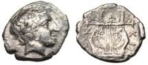 "Ancient Coins - Macedonia, Chalkidian League (Olynthos) Tetrobol ""Apollo & Lyre"" Scarce VF"