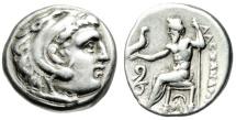 "Ancient Coins - Alexander III The Great AR Silver Drachm ""Herakles / Zeus, Serpent"" Lampsakos VF"