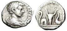 """Ancient Coins - Caracalla Caesar Silver Denarius """"DESTINATO IMPERAT Lituus, Apex, Bucranium"""" gF"""
