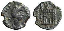 "Ancient Coins - Magnus Maximus AE4 ""SPES ROMANORVM Campgate, RE"" Rome RIC 59 Rare VF"