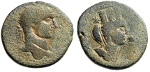 """Ancient Coins - Severus Alexander 27mm """"Bust of Tyche, Two Stars"""" Mesopotamia Nisibis Scarce"""