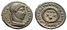 """Ancient Coins - Constantine I The Great AE3 """"VOT XX and Star in Wreath"""" Heraclea RIC 60 EF Brown"""