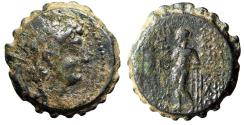 "Ancient Coins - Seleukid Kingdom: Antiochos VI Dionysos Serrated AE21 ""Radiate & Apollo"" nVF"