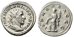 "Ancient Coins - Philip I The Arab AR Antoninianus ""Annona By Modius"" ROme 244-247 RIC 28c gVF"