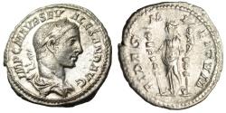 "Ancient Coins - Severus Alexander Silver Denarius ""Fides Holding Two Standards"" Rome RIC 139"