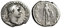 """Ancient Coins - Trajan Silver Denarius """"Hercules, Club & Lion's Skin"""" Rome 100 AD RIC 37 Budget"""