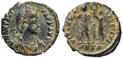 """Ancient Coins - Arcadius AE19 """"VIRTVS EXERCITI Crowned By Victory"""" Antioch RIC 71 EF Choice"""