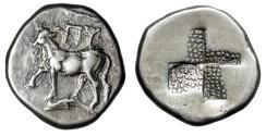 """Ancient Coins - Thrace, Byzantion AR Hemidrachm """"Bull on Dolphin & Stippled Mill Sail"""" Good VF"""