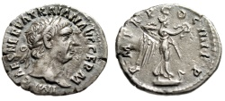 "Ancient Coins - Trajan AR Denarius ""Victory on Prow Ornamented With Snake"" Rome RIC 59 gVF"
