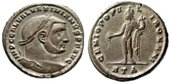 "Ancient Coins - Galerius as Augustus Silvered Follis ""Genius"" Heraclea 305-306 AD RIC 24b aEF"