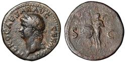 "Ancient Coins - Nero AE As ""Portrait Left & Winged Victory"" Rome RIC 313 Rare Legend Break"