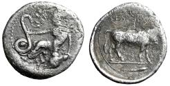 "Ancient Coins - Sicily, Selinos AR Litra ""Nymph Seated, Serpent & Man-Headed Bull"" Near VF"