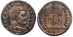 "Ancient Coins - Maxentius AE Follis ""CONSERV VRB SVAE Roma in Temple, X"" Aquileia RIC 116 nEF"