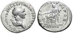 "Ancient Coins - Trajan AR Silver Denarius ""Fortuna Seated, Fortune"" Rome 114 AD VF"