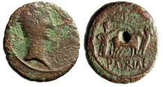 "Ancient Coins - Augustus AE21 ""Colonist Plowing, Yoke Oxen"" Peloponnesos Achaia Patrae Scarce"