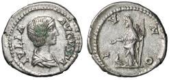 "Ancient Coins - Julia Domna AR Denarius ""IVNO Juno, Peacock"" Rome 196-211 AD RIC 559 Good VF"