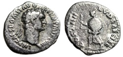 "Ancient Coins - Domitian Silver Quinarius ""Herald, Shield"" Rome 88 AD Secular Games RIC 599 Rare"