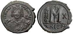 """Ancient Coins - Maurice Tiberius AE Follis """"Crowned Portrait Facing & Large M"""" Theoupolis RY 10"""