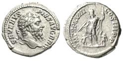 """Ancient Coins - Septimius Severus AR Denarius """"Jupiter, Caracalla & Geta as Children"""" 210 AD VF"""