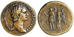 """Ancient Coins - Domitian AE Sestertius """"Emperor Crowned by Victory"""" RIC 795 Rare VF"""