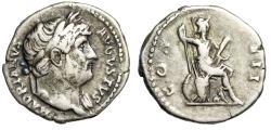 """Ancient Coins - Hadrian AR Denarius """"COS III Roma Seated, Cuirass & Spear"""" Rome RIC 162 gF"""