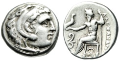 "Ancient Coins - Alexander III The Great AR Silver Drachm ""Herakles / Zeus, Serpent"" Lampsakos VF"